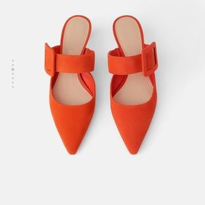Zara Orange Leather mules